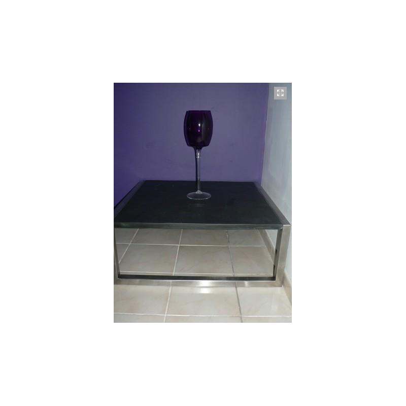 ... TABLE BASSE SLATE 85X85 INOX ET ARDOISE ...