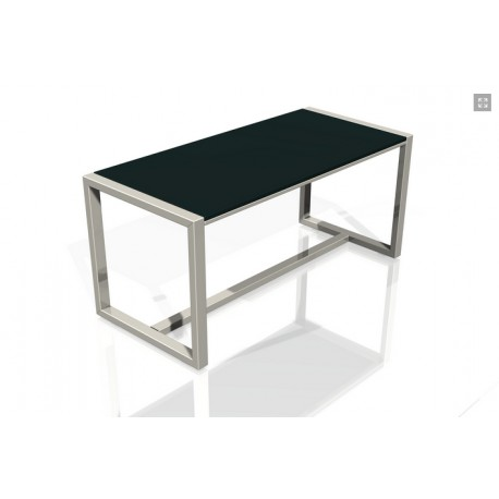Table simple mais design en Inox et Ardoise ou en inox et verre.